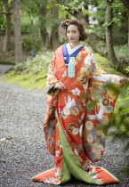 R1215040_オレンジ枝垂桜に松鶴_40 (1)
